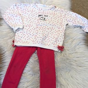 Zara red heart outfit 3-4 yrs